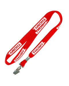 "1/2"" Lanyard Red with Bull Dog Clip Print 1 side"