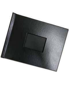 "Pinchbook 8.5""x11"" Landscape black leather with window"