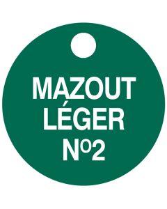 """Small """"MAZOUT LEGER NO.2"""" CPPI Fuel Tag 2.5""""x2.5"""""""